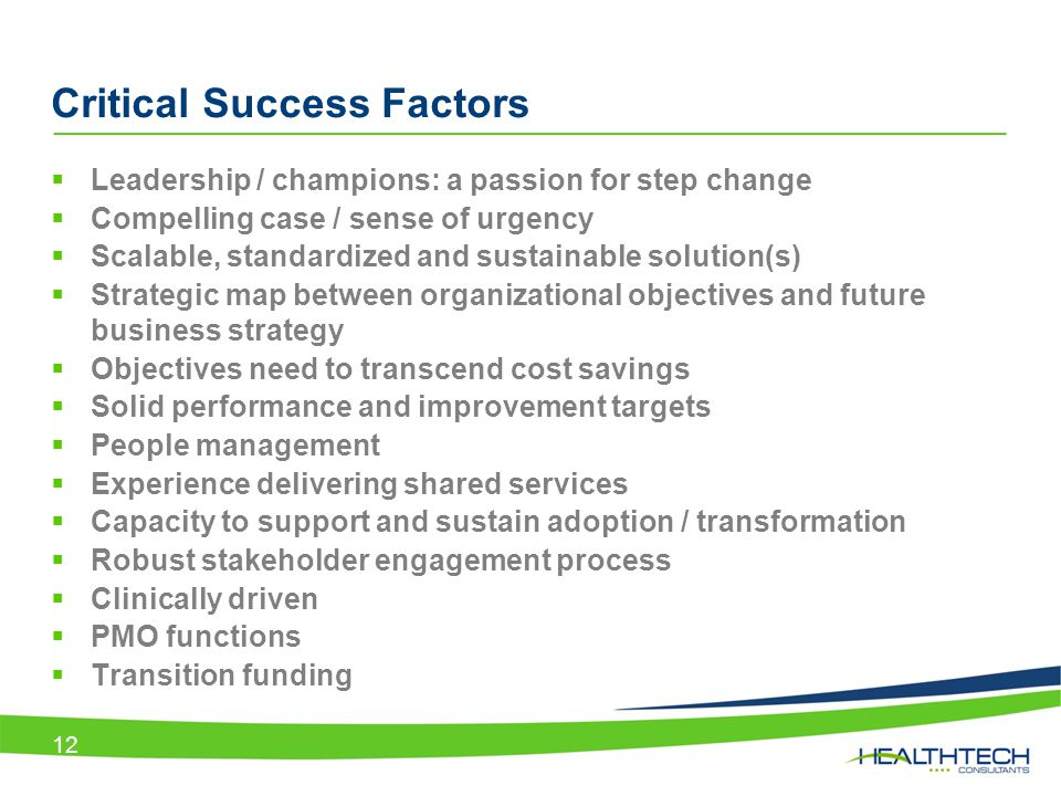 Critical Success Factors  Leadership / champions: a passion for step change  Compelling case / sense of urgency  Scalable, standardized and sustain