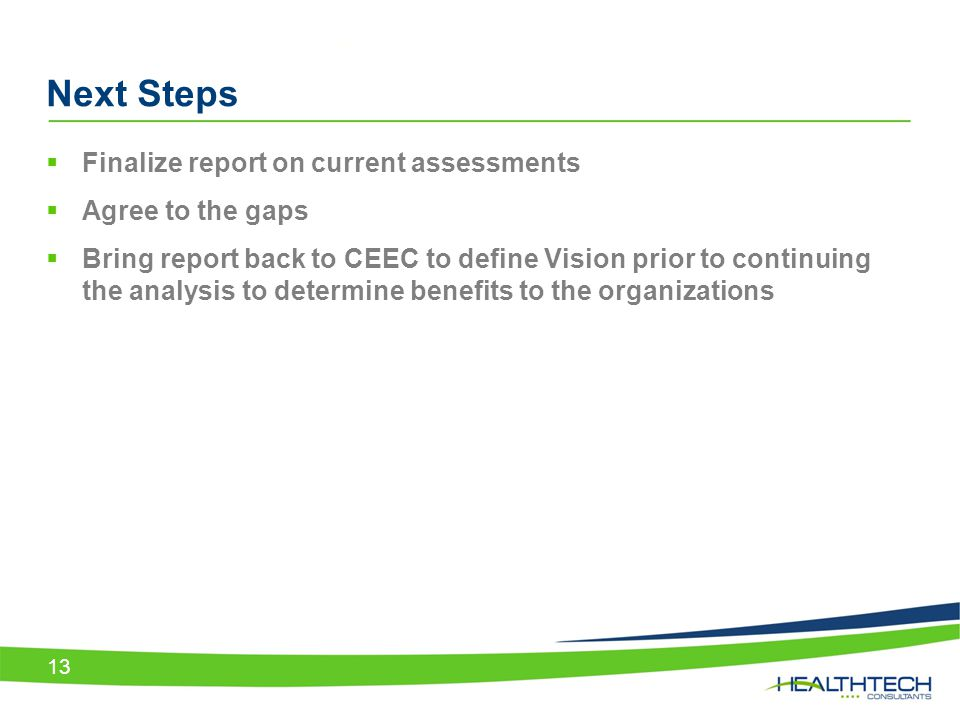  Finalize report on current assessments  Agree to the gaps  Bring report back to CEEC to define Vision prior to continuing the analysis to determin