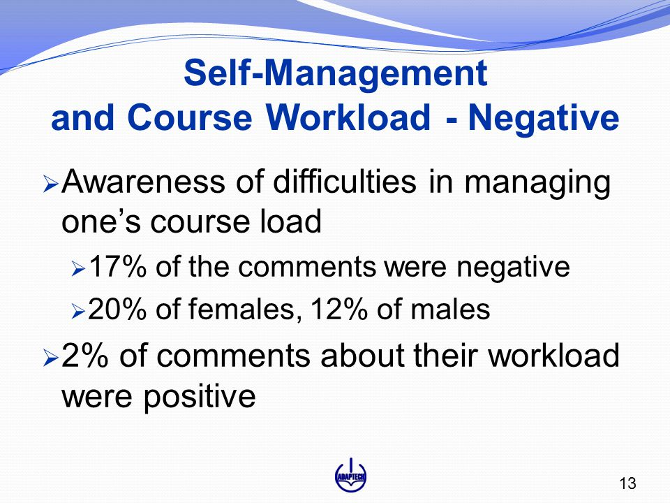 Self-Management and Course Workload - Negative  Awareness of difficulties in managing one's course load  17% of the comments were negative  20% of females, 12% of males  2% of comments about their workload were positive 13