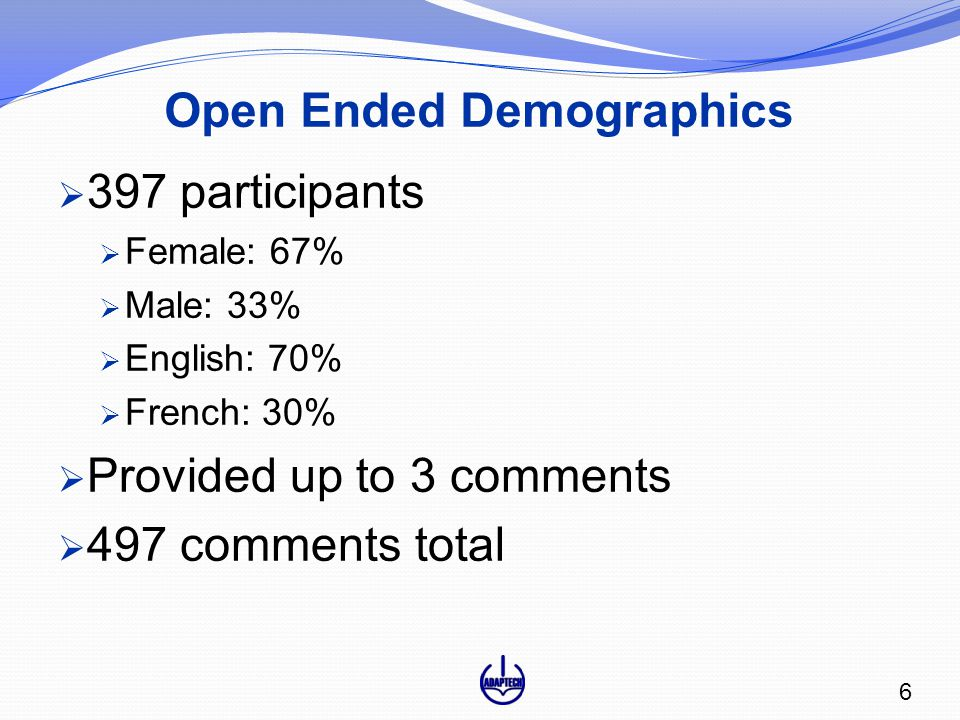 Open Ended Demographics  397 participants  Female: 67%  Male: 33%  English: 70%  French: 30%  Provided up to 3 comments  497 comments total 6
