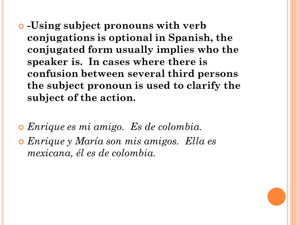 -Using subject pronouns with verb conjugations is optional in Spanish, the conjugated form usually implies who the speaker is.