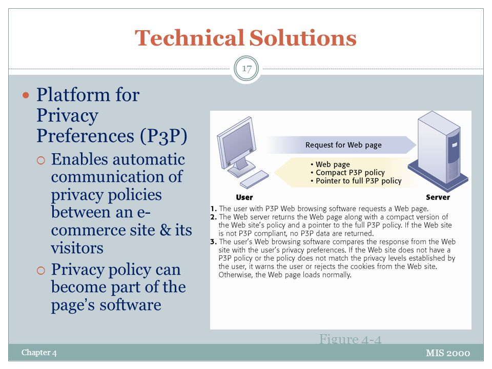 Technical Solutions Platform for Privacy Preferences (P3P)  Enables automatic communication of privacy policies between an e- commerce site & its visitors  Privacy policy can become part of the page's software MIS 2000 Figure 4-4 Chapter 4 17
