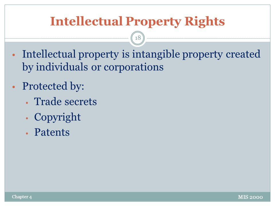 Intellectual Property Rights Intellectual property is intangible property created by individuals or corporations Protected by: Trade secrets Copyright Patents MIS 2000 Chapter 4 18