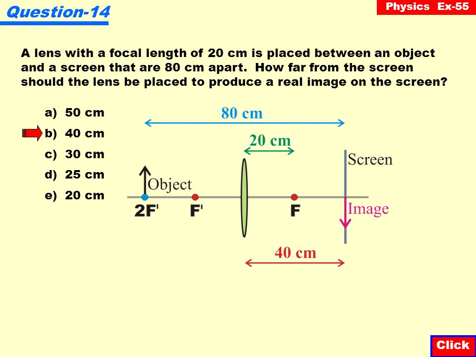 Physics Ex-55 Question-13 An object is placed 30 cm in front of a converging lens. If the focal length of the lens is 20 cm, the image position will b