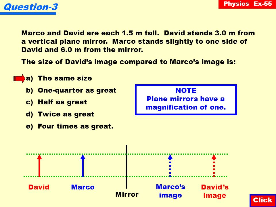 Physics Ex-55 Question-2 A virtual image can never be: a) Located by correcting for parallax b) Smaller than the object c) Larger than the object d) U