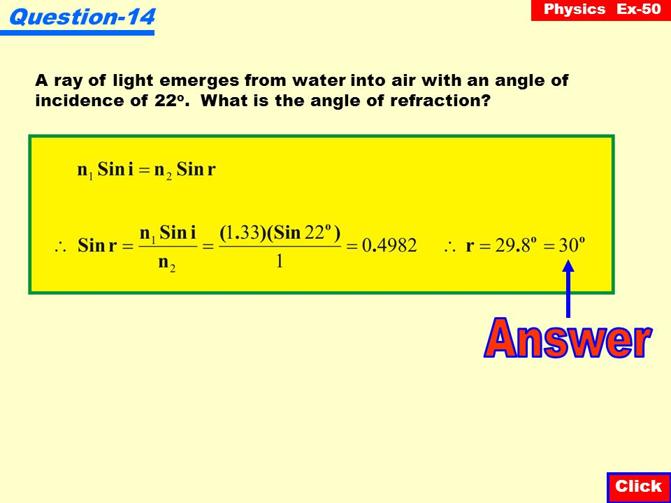 Physics Ex-50 Question-13 In traveling from water into air, a ray of light makes an angle of refraction of 59 o. Calculate the angle of incidence. Cli