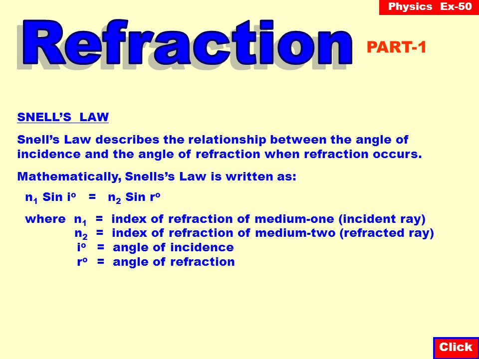 Physics Ex-50 Click When refraction occurs, light bends away from the normal when the optical density (index of refraction) is less dense (and vice ve