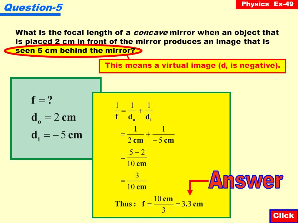Physics Ex-49 Question-4 A converging mirror has a focal length of 15 cm.