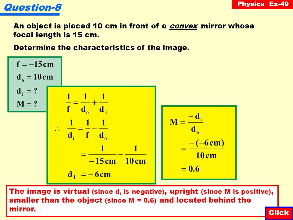 Physics Ex-49 Question-7 Illustrated below is an object situated in front of a convex mirror.