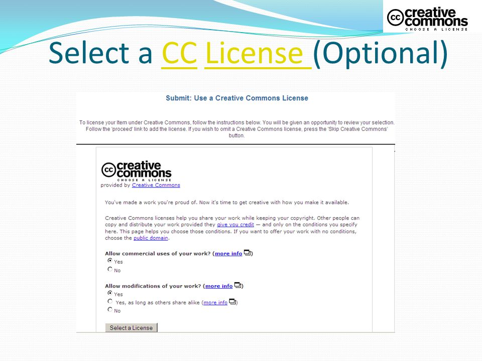 Select a CC License (Optional)CCLicense