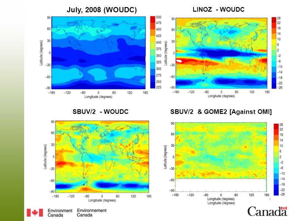 July, 2008 (WOUDC) SBUV/2 - WOUDCSBUV/2 & GOME2 [Against OMI] LINOZ - WOUDC
