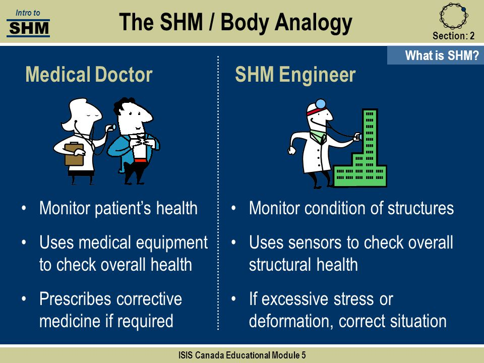 Section:2 The SHM / Body Analogy What is SHM? Medical Doctor Monitor patient's health Uses medical equipment to check overall health Prescribes correc