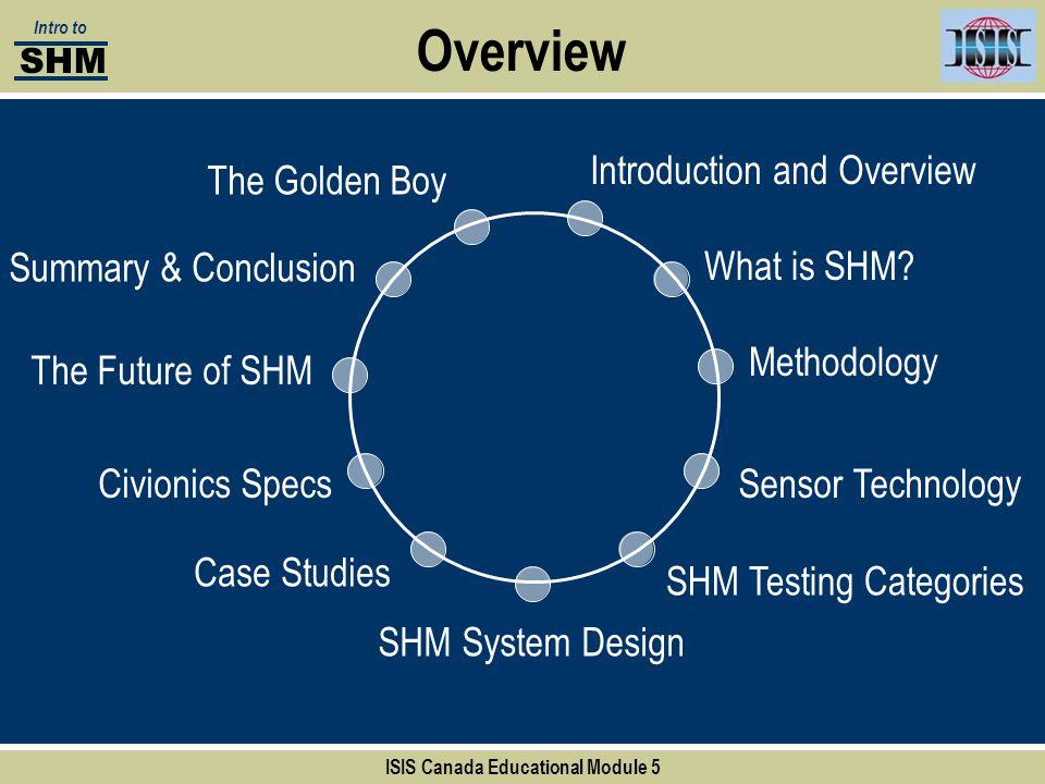 Overview Introduction and Overview Methodology SHM Testing Categories SHM System Design Case Studies Civionics Specs The Golden Boy ISIS Canada Educat