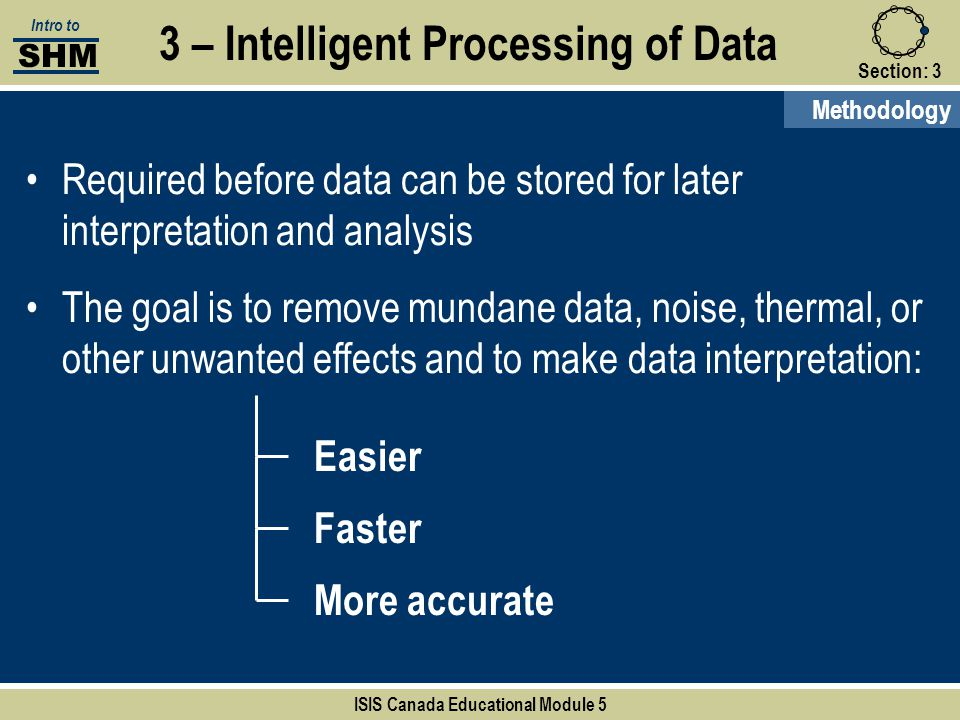 Section:3 3 – Intelligent Processing of Data Easier Faster More accurate SHM Intro to ISIS Canada Educational Module 5 Methodology Required before dat