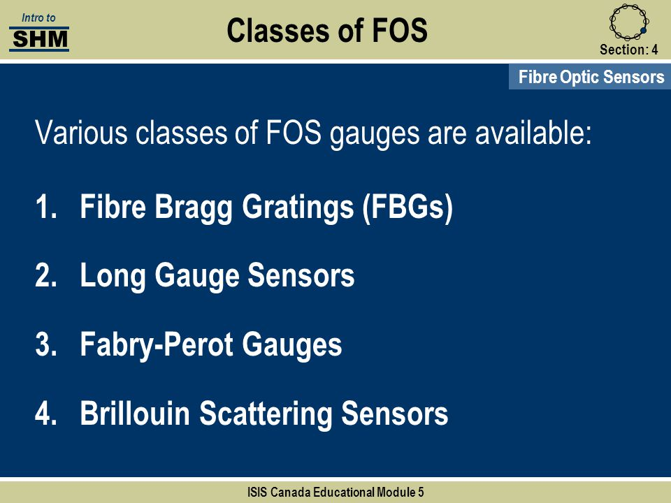 Section:4 Classes of FOS Fibre Optic Sensors SHM Intro to ISIS Canada Educational Module 5 Various classes of FOS gauges are available: 1.Fibre Bragg