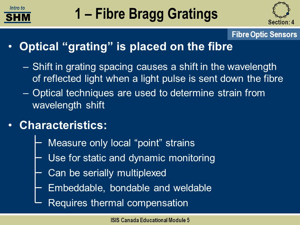 """Section:4 1 – Fibre Bragg Gratings Fibre Optic Sensors Measure only local """"point"""" strains Use for static and dynamic monitoring Can be serially multip"""