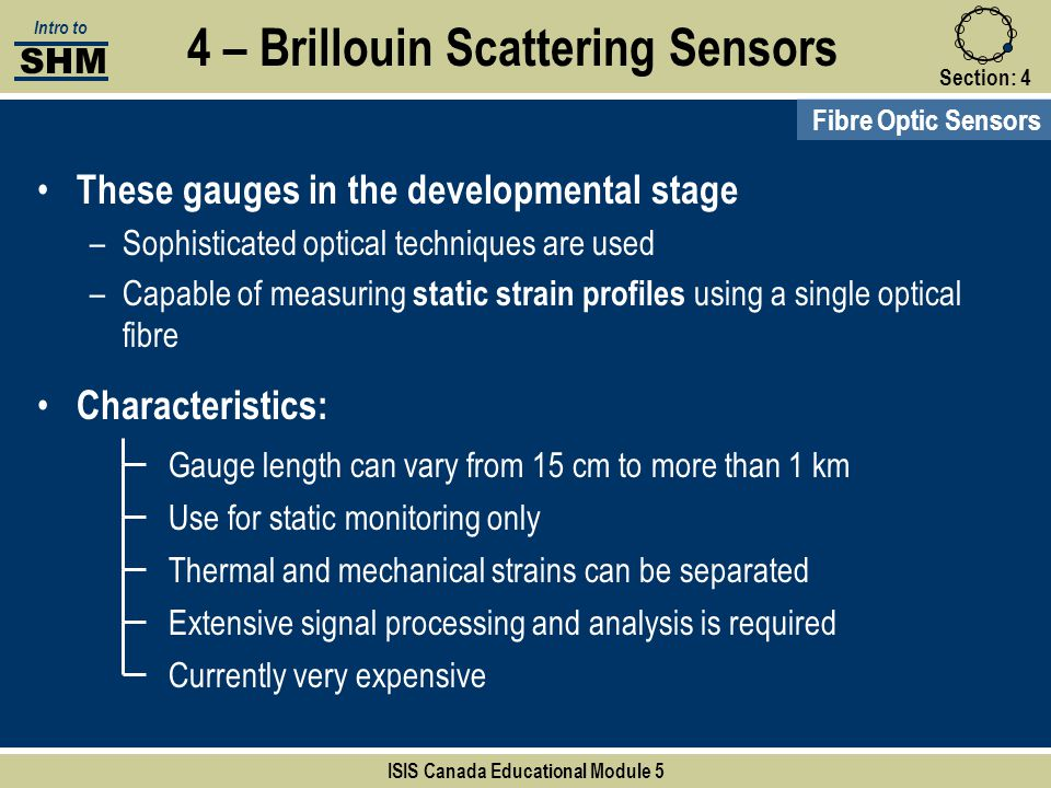 Section:4 4 – Brillouin Scattering Sensors Fibre Optic Sensors SHM Intro to ISIS Canada Educational Module 5 Gauge length can vary from 15 cm to more