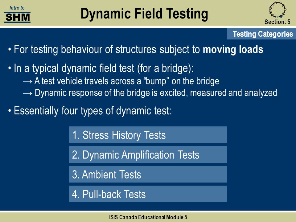 Section:5 Dynamic Field Testing Testing Categories 1. Stress History Tests 2. Dynamic Amplification Tests 3. Ambient Tests 4. Pull-back Tests SHM Intr