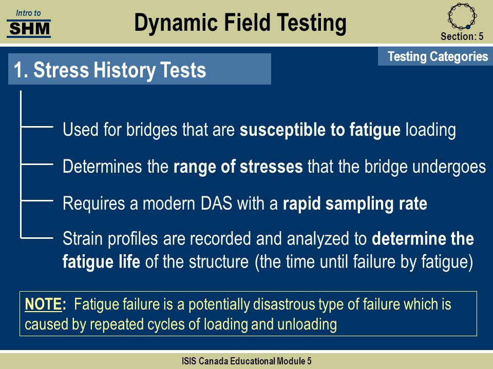 Section:5 Dynamic Field Testing Testing Categories 1. Stress History Tests Used for bridges that are susceptible to fatigue loading Determines the ran