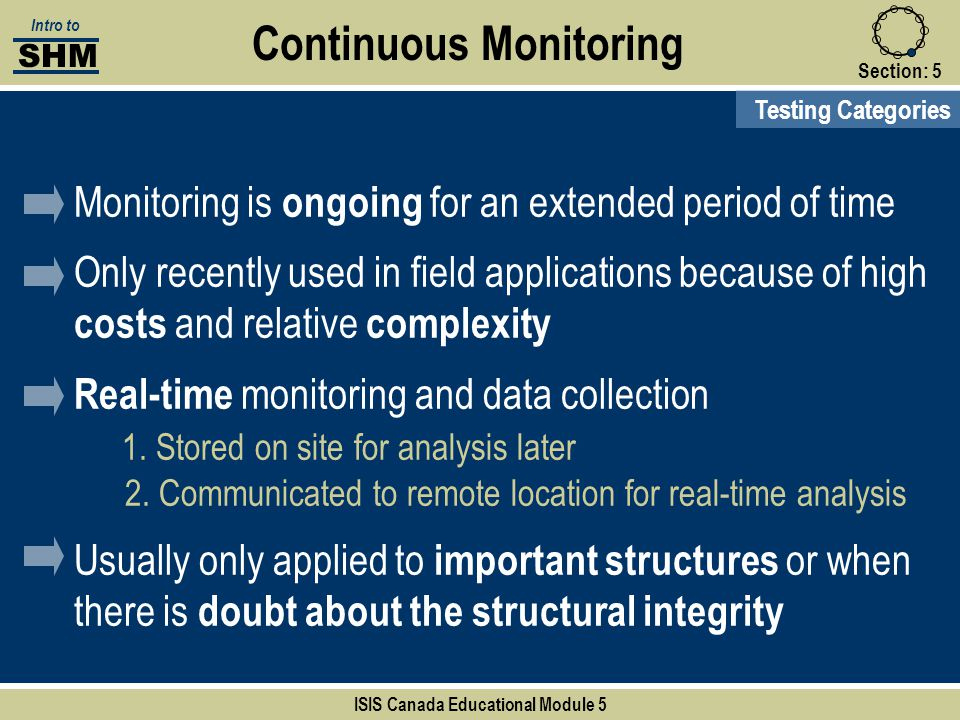 Section:5 Continuous Monitoring Testing Categories SHM Intro to ISIS Canada Educational Module 5 Monitoring is ongoing for an extended period of time