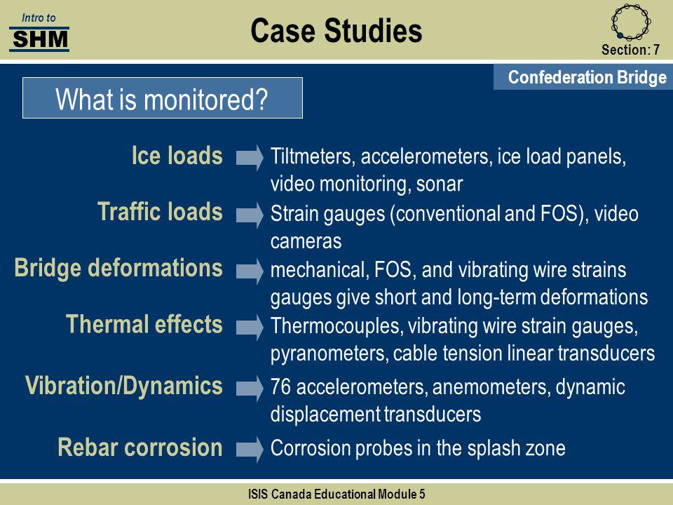 Case Studies What is monitored? Section:7 Confederation Bridge Bridge deformations Thermal effects Traffic loads Vibration/Dynamics Rebar corrosion SH
