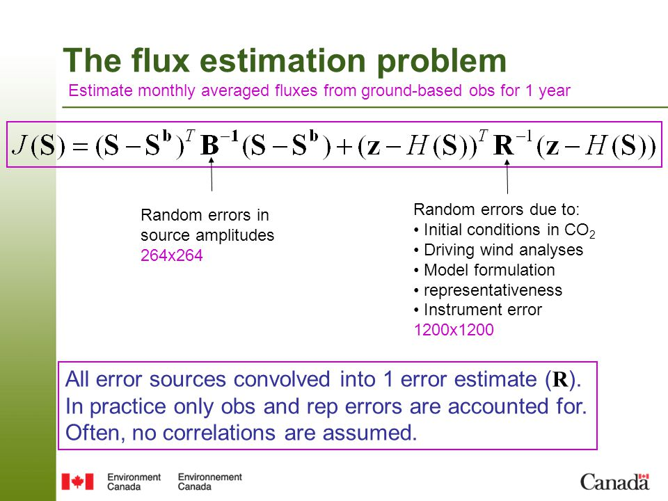 The flux estimation problem Estimate monthly averaged fluxes from ground-based obs for 1 year Random errors due to: Initial conditions in CO 2 Driving wind analyses Model formulation representativeness Instrument error 1200x1200 Random errors in source amplitudes 264x264 If B and R are incorrect, then uncertainty estimates are wrong Estimation error