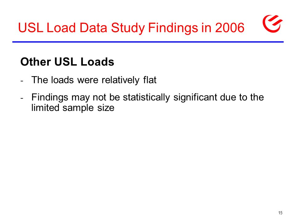 USL Load Data Study Findings in 2006 Other USL Loads - The loads were relatively flat - Findings may not be statistically significant due to the limited sample size 15