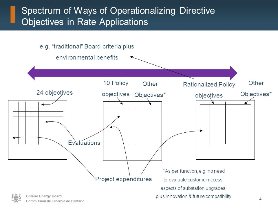 44 Spectrum of Ways of Operationalizing Directive Objectives in Rate Applications 24 objectives Project expenditures Evaluations 10 Policy objectives Other Objectives* Rationalized Policy objectives Other Objectives* * As per function, e.g.