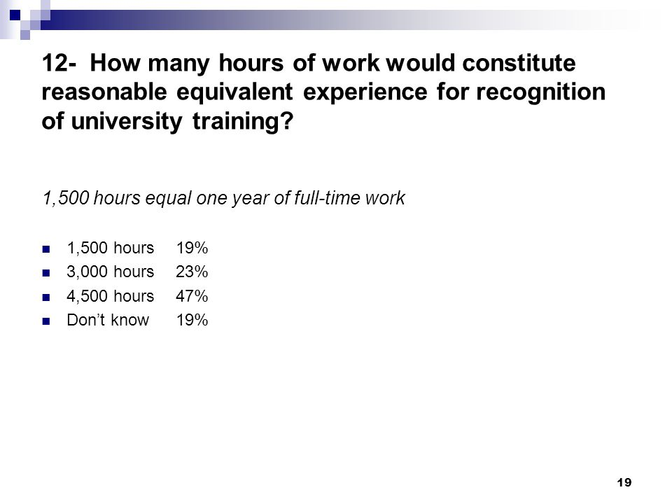 19 12- How many hours of work would constitute reasonable equivalent experience for recognition of university training.