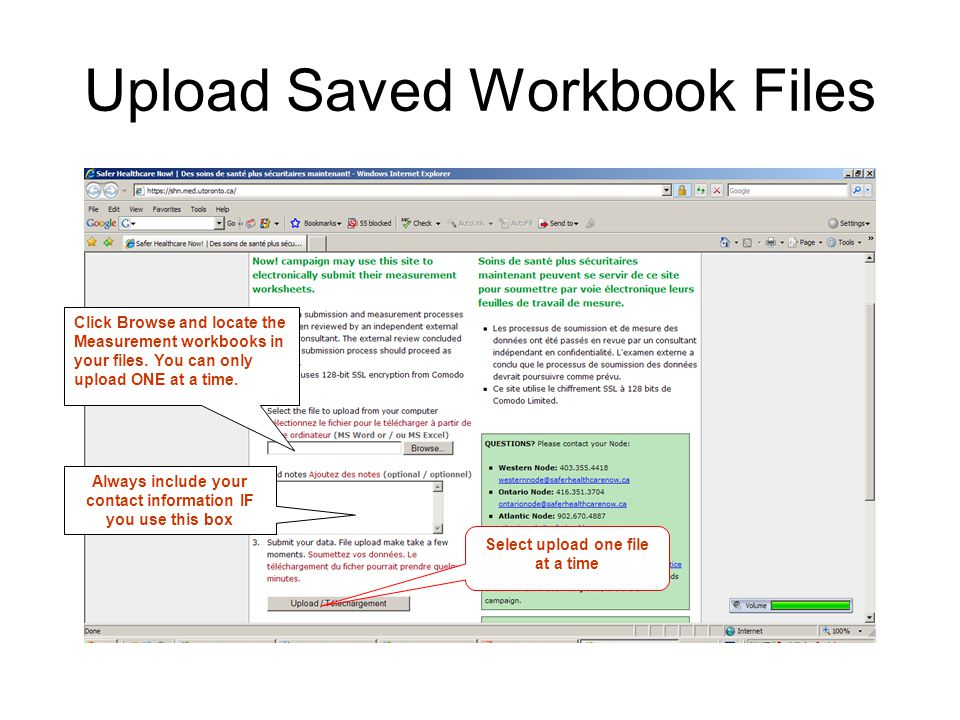 Upload Saved Workbook Files Click Browse and locate the Measurement workbooks in your files.