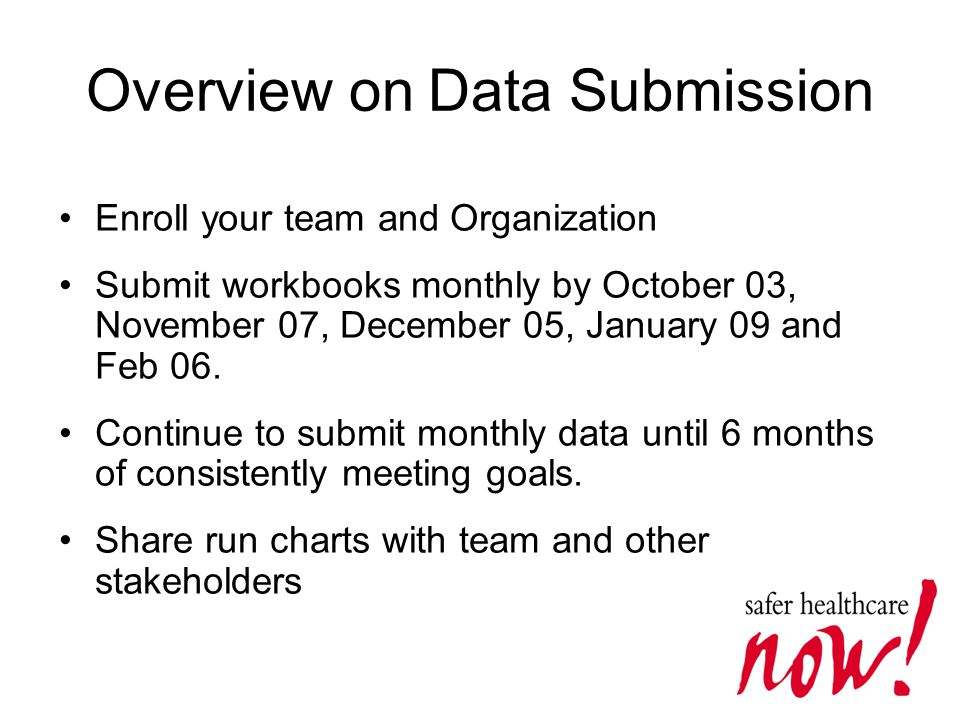 Overview on Data Submission Enroll your team and Organization Submit workbooks monthly by October 03, November 07, December 05, January 09 and Feb 06.