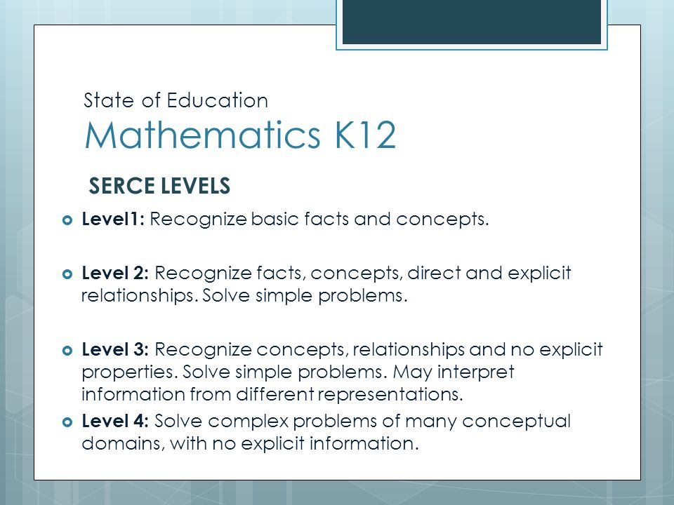 State of Education Mathematics K12  Level1: Recognize basic facts and concepts.