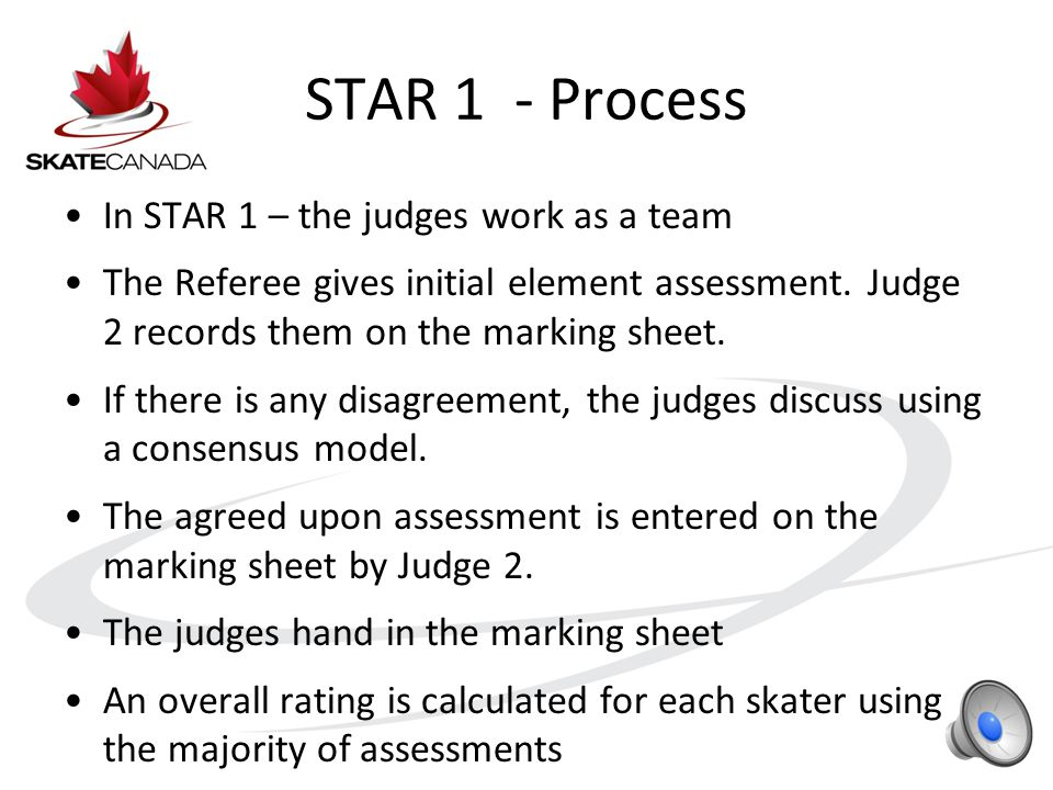 STAR 1 – Priorities Stroking Exercise: –The beginning of good basic technique Jumps: –Fundamentals: rotation, air position & landing Spins: –Finding a balance point & controlling revolutions Spirals: –Basic spiral position, control & beginnings of flexibility Creative Expression Routine: –Attempting to skate to an unfamiliar piece of music
