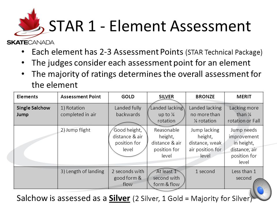 STAR 1 - Process In STAR 1 – the judges work as a team The Referee gives initial element assessment.