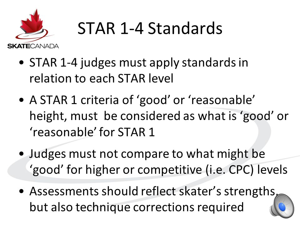 STAR 1-4 Standards STAR 1-4 judges must apply standards in relation to each STAR level A STAR 1 criteria of 'good' or 'reasonable' height, must be considered as what is 'good' or 'reasonable' for STAR 1 Judges must not compare to what might be 'good' for higher or competitive (i.e.