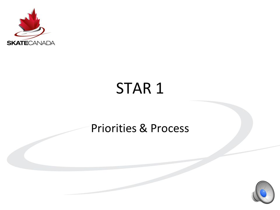 STAR 1 Recap Element based event where skaters are rated as Gold, Silver, Bronze or Merit Skaters do not have to start at STAR 1 – they may enter STAR at any level Sections may group skaters by age Creates a fun group environment The focus is on assessment of key skills