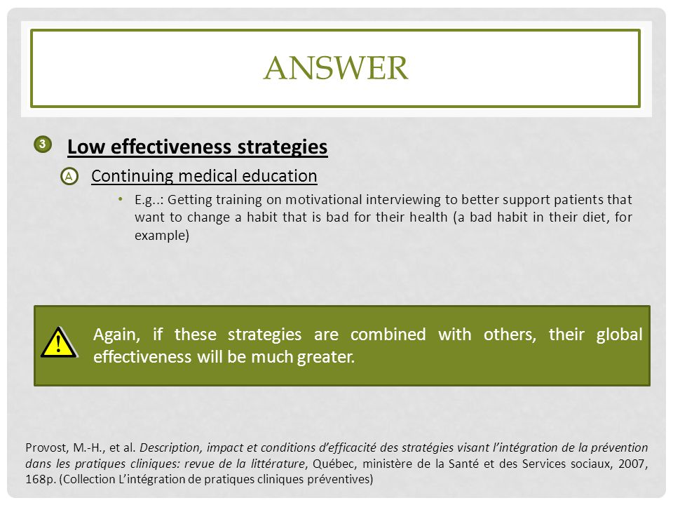 ANSWER Low effectiveness strategies Continuing medical education E.g..: Getting training on motivational interviewing to better support patients that