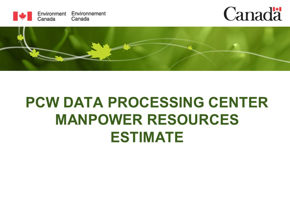 PCW DATA PROCESSING CENTER MANPOWER RESOURCES ESTIMATE
