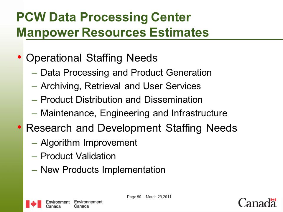 Page 50 – March 25,2011 PCW Data Processing Center Manpower Resources Estimates Operational Staffing Needs –Data Processing and Product Generation –Archiving, Retrieval and User Services –Product Distribution and Dissemination –Maintenance, Engineering and Infrastructure Research and Development Staffing Needs –Algorithm Improvement –Product Validation –New Products Implementation