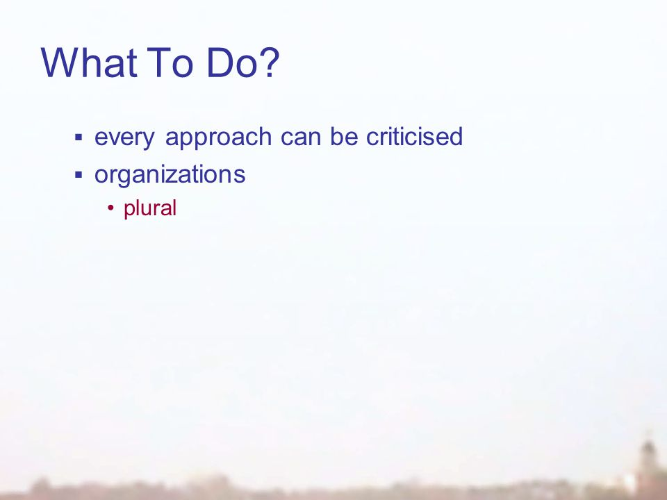 What To Do?  every approach can be criticised  organizations plural