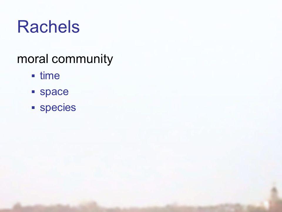 Rachels moral community  time  space  species