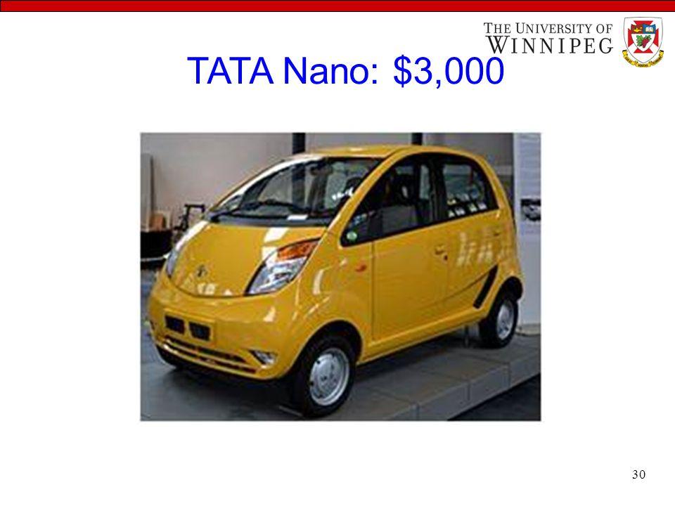 TATA Nano: $3,000 30