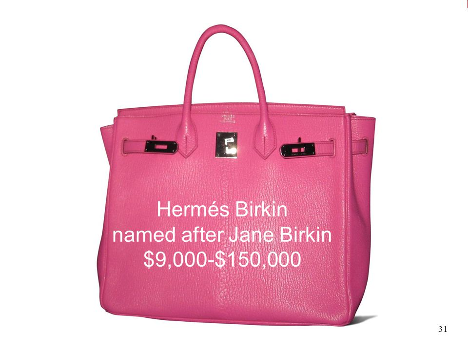 Sources of Growth Hermés Birkin named after Jane Birkin $9,000-$150,000 31