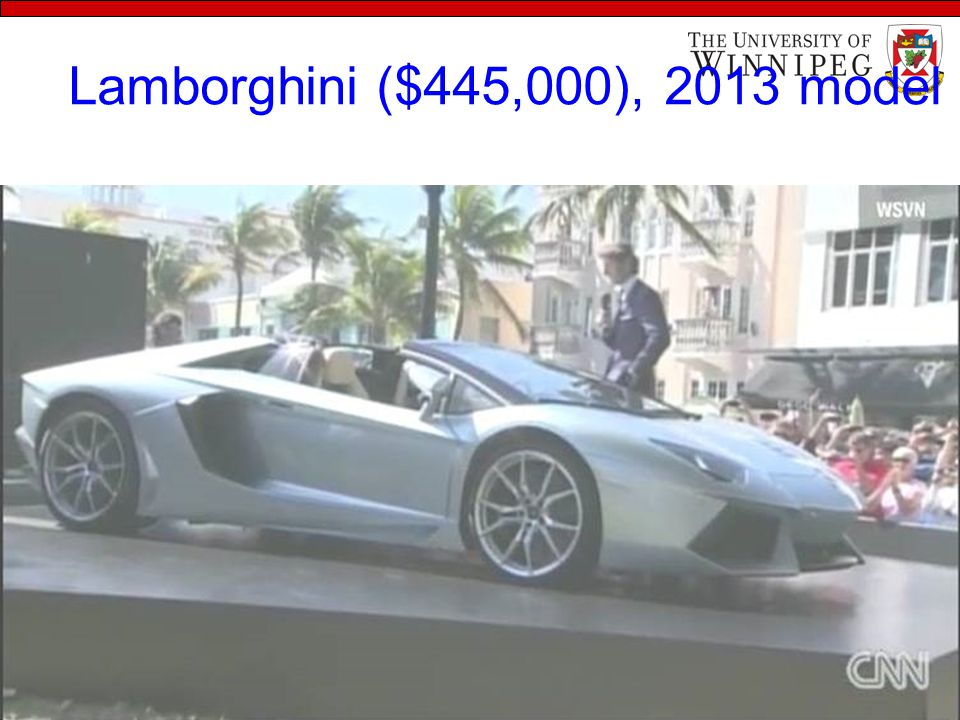 Lamborghini ($445,000), 2013 model