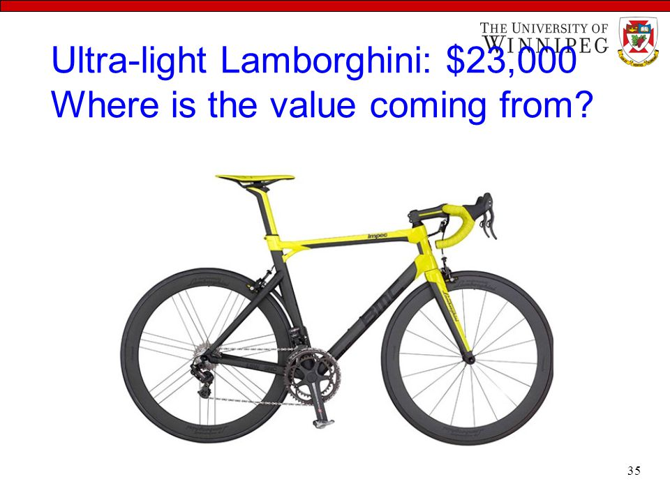 Ultra-light Lamborghini: $23,000 Where is the value coming from? 35