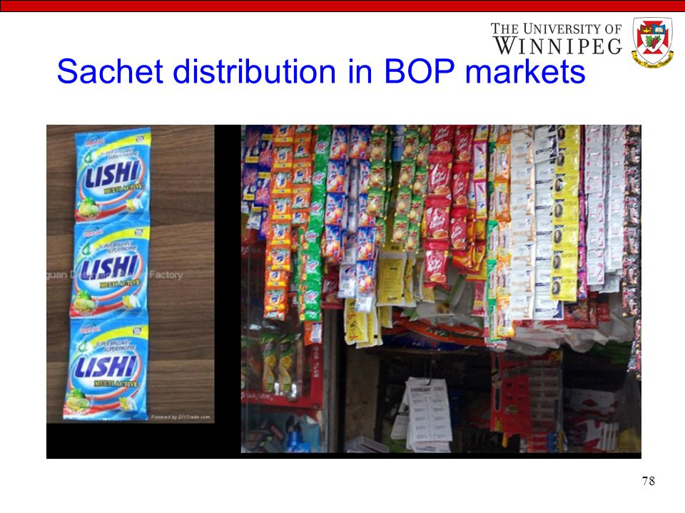 Sachet distribution in BOP markets 78