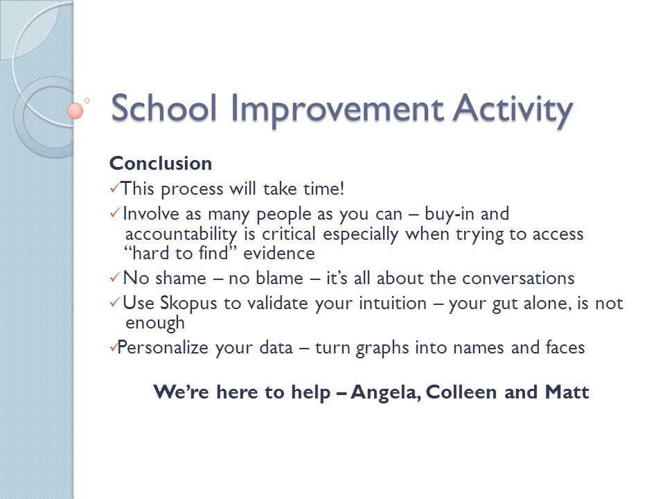 School Improvement Activity Conclusion This process will take time.