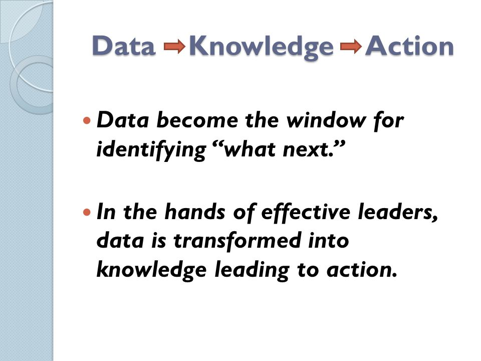 Data Knowledge Action Data become the window for identifying what next. In the hands of effective leaders, data is transformed into knowledge leading to action.