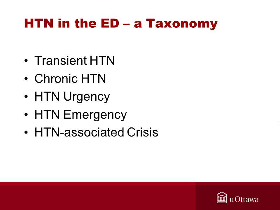 HTN in the ED – a Taxonomy Transient HTN Chronic HTN HTN Urgency HTN Emergency HTN-associated Crisis