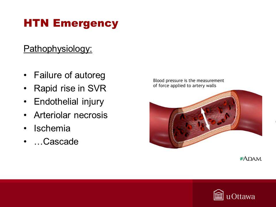 HTN Emergency Pathophysiology: Failure of autoreg Rapid rise in SVR Endothelial injury Arteriolar necrosis Ischemia …Cascade